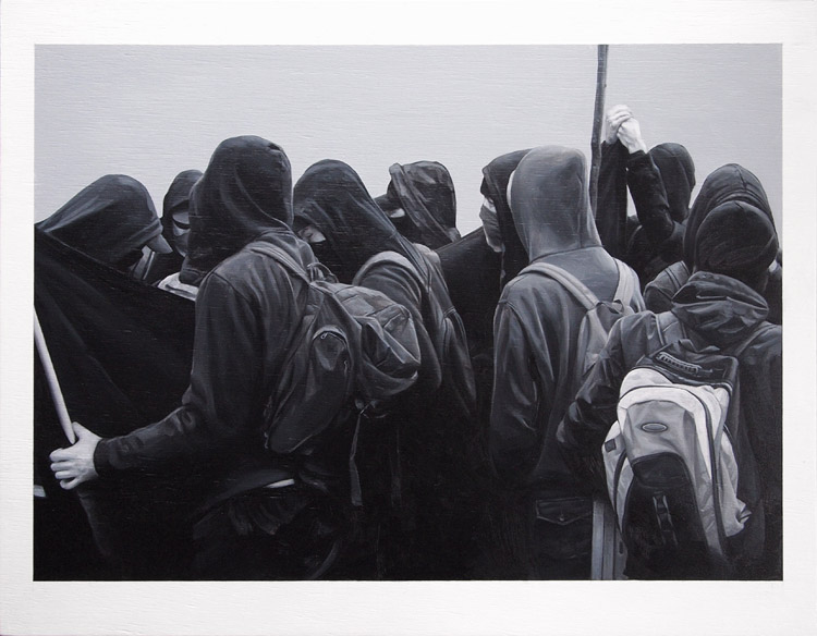 Black Bloc, oil on panel, 2012